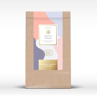 アニスチョコレート包装モックアップ付きクラフト紙袋