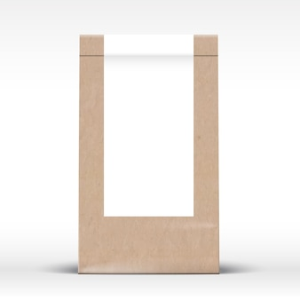 Craft paper bag with clear white label template