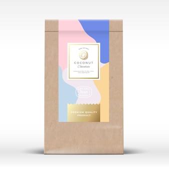 ココナッツチョコレート包装モックアップ付きクラフト紙袋