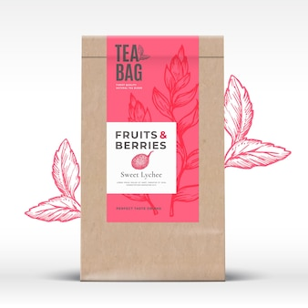 Craft paper bag with fruit and berries tea label abstract packaging design layout with realistic shadows