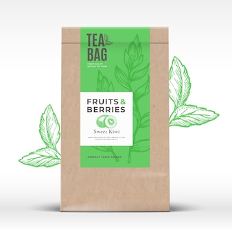 Craft paper bag with fruit and berries tea label abstract vector packaging design layout with realis...