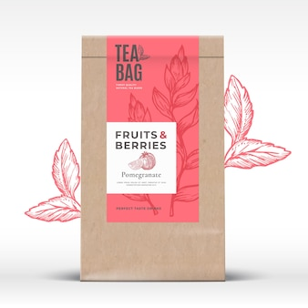 Craft paper bag with fruit and berries tea label.