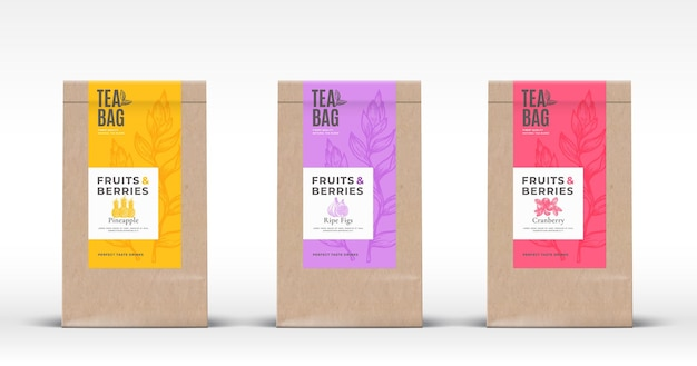 Craft paper bag with fruit and berries tea labels set. packaging