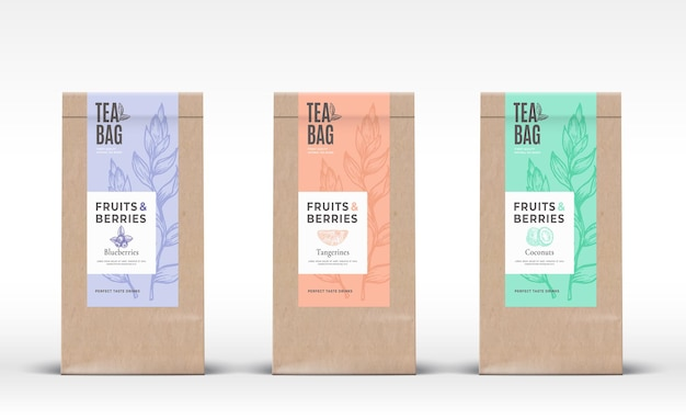 Craft paper bag with fruit and berries tea labels set.