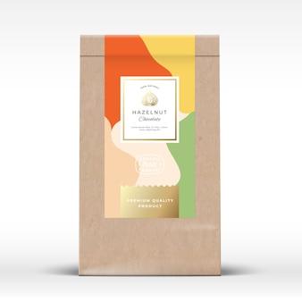 ヘーゼルナッツチョコレート包装モックアップ付きクラフト紙袋