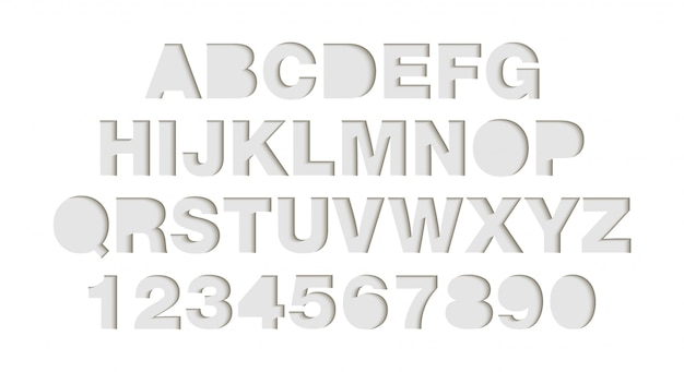 Craft paper cut white shapes font.