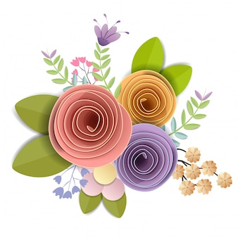 Craft paper flowers, festive floral bouquet, nature clipart isolated on white background, vector
