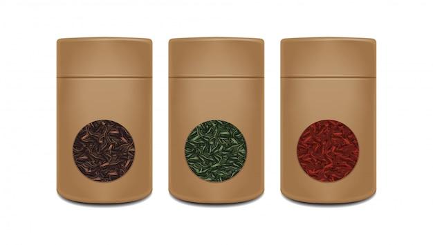 クラフト紙鍋テンプレート。お茶用の窓付きの現実的なパック。赤、緑、黒茶。ブラウン包装
