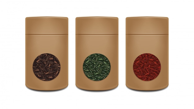 Craft paper pot template.  realistic pack with window for tea. red, green, black tea. brown packaging