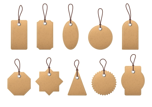 Craft paper price label. blank shopping labels with rope, vintage paper brown tags for marking pricing, hanging tag realistic vector mockups. gift box round, oval, rectangular and triangular tags