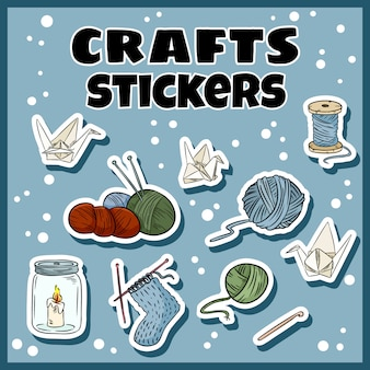 Craft stickers set. collection of handicraft labels.