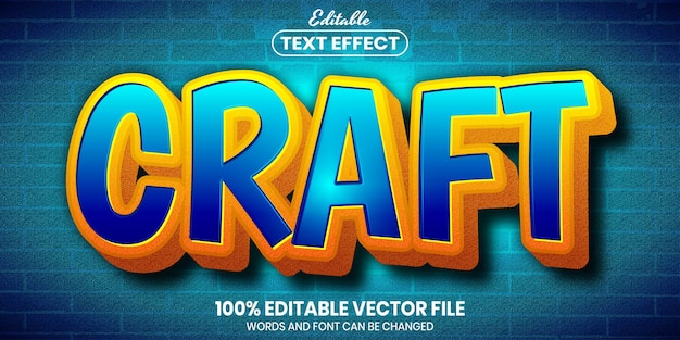 Craft text, font style editable text effect
