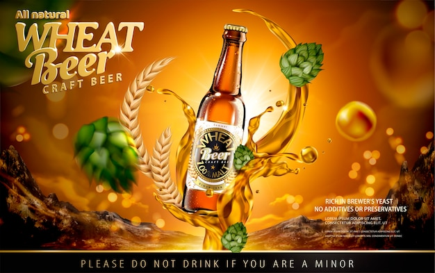 Craft wheat beer ads with splashing alcohol and hops on shiny brown background