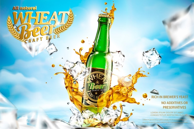 Craft wheat beer with splashing liquid and ice cubes on bokeh blue sky