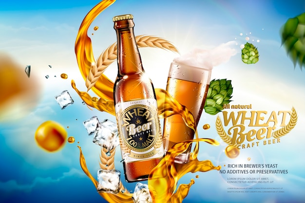 Craft wheat beer with splashing liquid and ingredients on bokeh blue sky