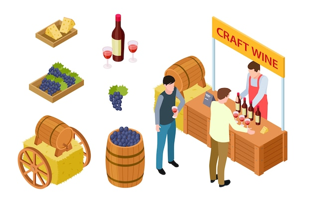 Craft wine tasting. winemaking isometric concept. vector grapes, cheese, market stall, wooden barrel