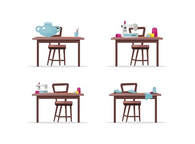 クラフトワークテーブルフラットカラーオブジェクトセット。ミシン。靴、靴作り。陶器。 webグラフィックデザインとアニメーションコレクションの手工芸品分離漫画イラスト