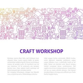 Craft workshop line design template. vector illustration of outline banner.