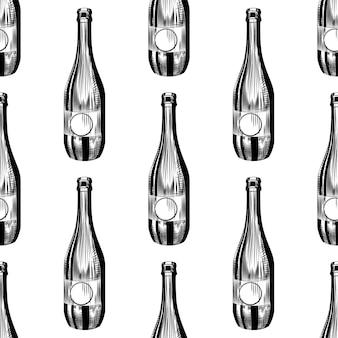 Ручной обращается сидр бутылка бесшовные модели. craft пивной бутылки фон.