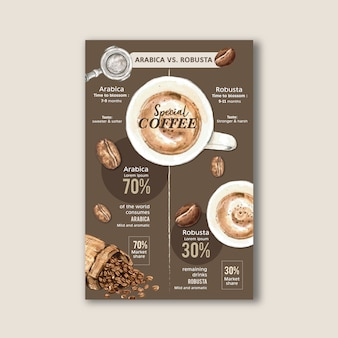 Crafted by heart of coffee bean burn maker, americano menu, watercolor illustration