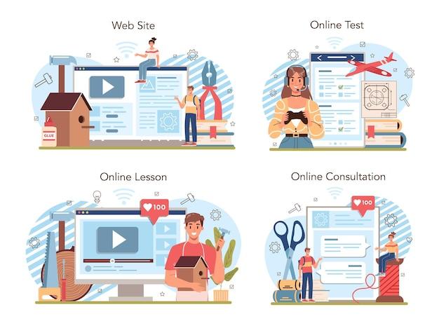 学校のコースのオンラインサービスまたはプラットフォームセットの作成とモデリング。生徒にクラフトを学ぶ教師。クリエイティブな趣味。オンラインレッスン、テスト、相談、ウェブサイト。分離されたフラットベクトル図