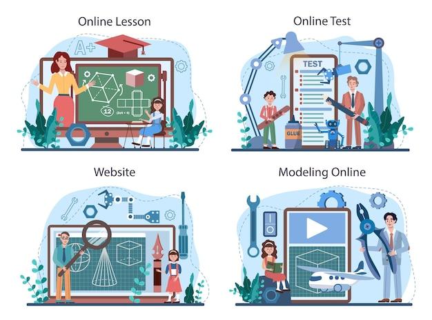 スクールコースのオンラインサービスまたはプラットフォームセットの作成とモデリング。