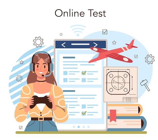学校のコースのオンラインサービスまたはプラットフォームの作成とモデリング。生徒にクラフトを学ぶ教師。クリエイティブな趣味。オンラインテスト。分離されたフラットベクトル図