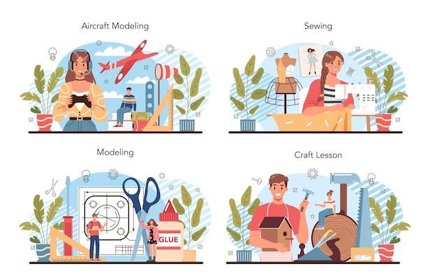 クラフトとモデリングの学校のコースセット。航空機のモデリング、彫刻、縫製。