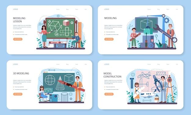 Веб-баннер или целевая страница курса школы ремесел и моделирования