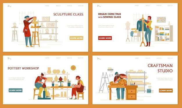Ремесла и хобби набор шаблонов посадочных страниц скульптура шитье керамика arpentry
