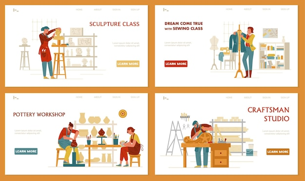 Crafts and hobbies set of landing page templates sculpture sewing pottery arpentry