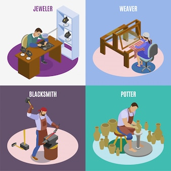 Craftsman isometric 4 icons square concept with hand loom weaver artisan jeweler blacksmith potter isolated