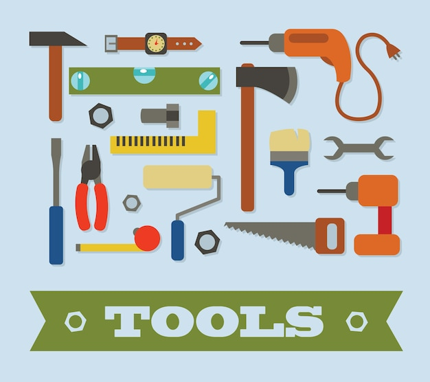 Craftsman tools in flat design style