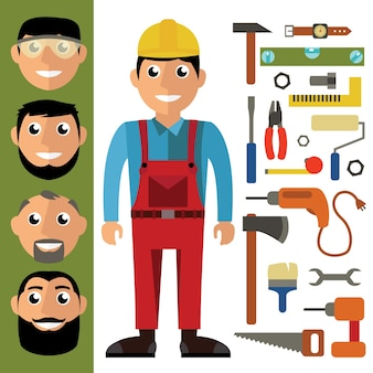 Craftsman and tools in flat design. vector graphic in contemporary style