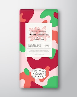 クランベリーチョコレートラベル抽象的な形ベクトルパッケージデザインレイアウト