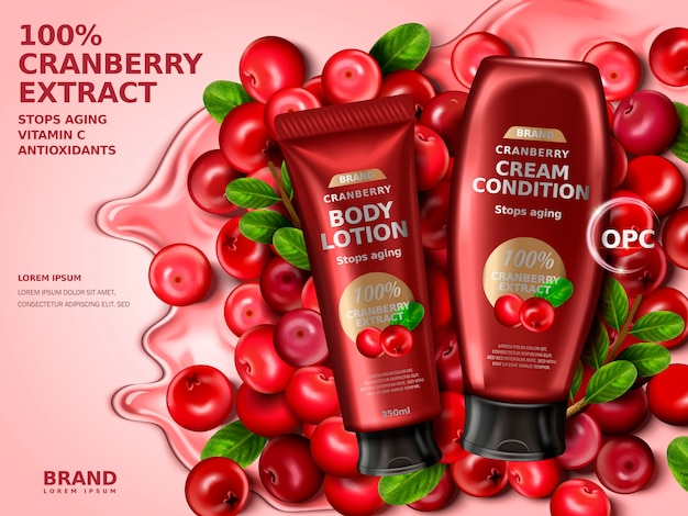 Cranberry cream contained in bottles, with cranberry elements, 3d illustration