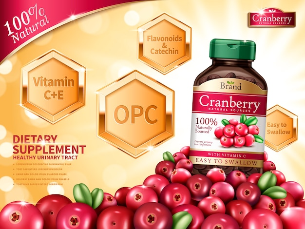 Cranberry dietary supplement contained in bottle, with cranberry elements, golden bokeh background  illustration