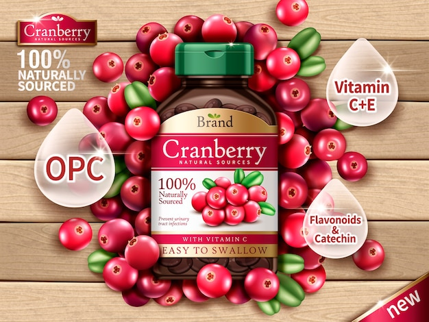 Cranberry dietary supplement contained in bottle, with cranberry elements, wooden background  illustration