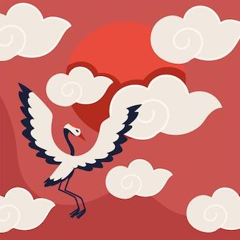 Crane bird and clouds