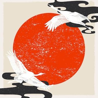 Crane birds background and wallpaper vector illustration of crane birds