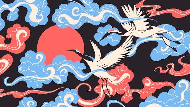 雲のバナーを飛んでいるツル鳥