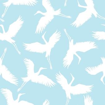 Crane birds seamless pattern