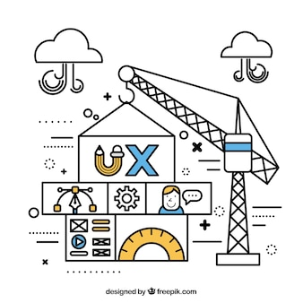 Crane building a website in linear style