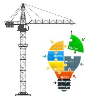 Crane builds the idea art. vector illustration