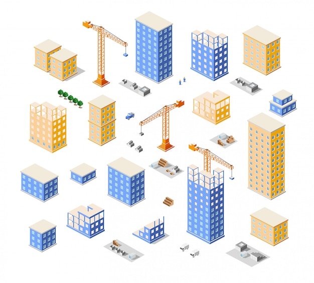 Crane construction industry town isometric  city