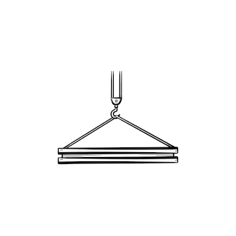 Crane hook hand drawn outline doodle icon. building slab hanging on an industrial crane hook vector sketch illustration for print, web, mobile and infographics isolated on white background.