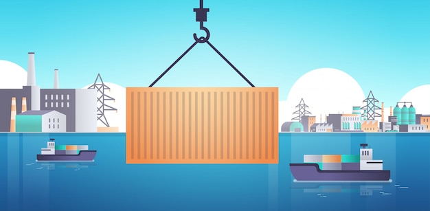Crane hook lifting cargo container box on ship over factory buildings industrial zone