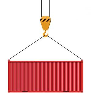 Crane hook lifts metal cargo container.
