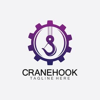Кран крюк логотип значок векторные иллюстрации дизайн шаблона