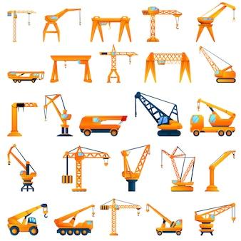 Crane icon set, cartoon style